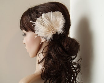 Bridal Hair Clip Bridal Feather Fascinator, Feather Hair Piece, Wedding Hair Accessory, ivory hair clip