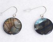 Circle Shell Bead Dangle Earrings with Black Stripes, Iridescent Gray-Blue Shell Earrings, Striped Earrings, Dangle Earrings