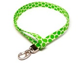 Fun Lime Green Polka Dots Fabric Lanyard ID badge holder - Name Tag Holder Great Gift for Office Workers, Nurses, Teachers, Students