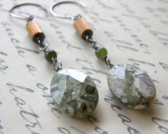 Green Rhyolite, Jade and Vintage Brass Drop Earrings, Earthy Boho Dangle Earrings