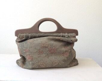 vintage tapestry bag / vintage sewing bag / Rose & Wreath tapestry bag
