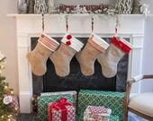 Personalized Burlap Christmas Stocking - MONOGRAMMED Stocking - Shabby Chic Stocking - Choose Your Style - Burlap Stocking - Stocking