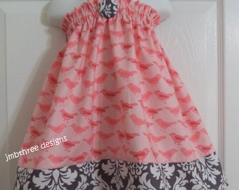 Pink Birds Dress in your choice of size 6m, 9m, 12m, 18m,2t, or 3t