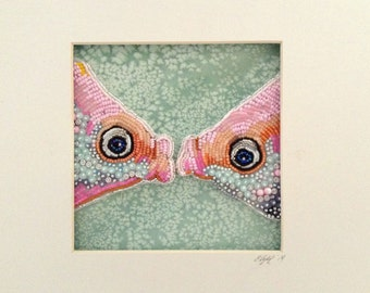 Seed Bead Embroidered Fish Kiss