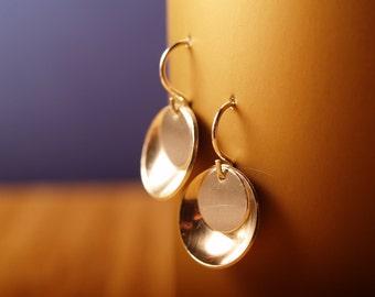 Sterling mirror and tab earrings