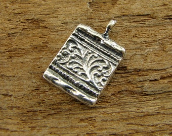 Florence - Artisan Sterling Silver Tapestry Texture Square Charm - One Piece - cftts
