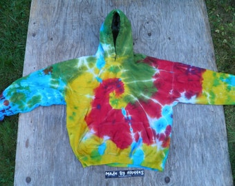 Red, Yellow, Green and Blue Spiral Tie Dye Hooded Sweatshirt (Gildan Size 2XL) (One of a Kind)