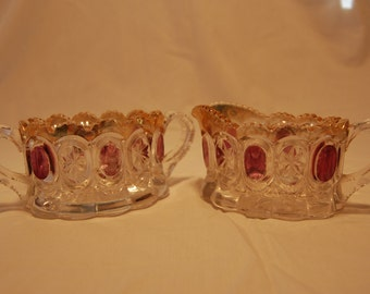 Vintage Purple and Gold Glass sugar and creamer tableware pressed glass