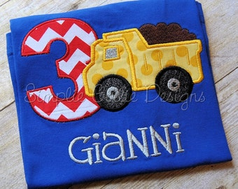 Custom construction birthday shirt. Dump truck. Personalized. Sizes 12m to boy's small. Other colors and sizes available.