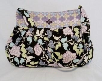 Pleated Hobo Bag Lavendar Blue Florals on Black