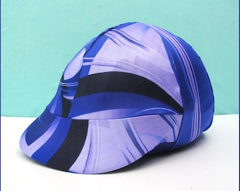 Equestrian Riding Helmet Cover - Black Blue-Purple Shades - New abstract swirly design - fits English or Western helmets