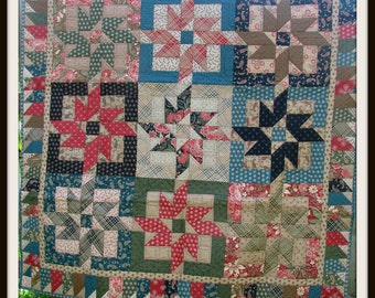 Scrappy Buzz-Saw-in-Square Throw Quilt