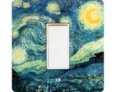 Vincent Van Gogh Starry Night Painting Square Decora Rocker Light Switch Plate Cover