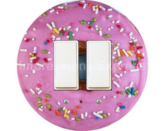 Pink Doughnut Decora Double Rocker Switch Plate Cover