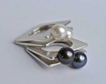 contemporary jewelry - thin square silver ring with white/black freshwater pearl
