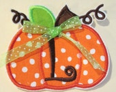 Fall Pumpkin  for Girls With 1 Letter Monogram  - Iron On Applique  - Ships in 3-7 Business Days