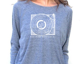 Womens Long Sleeve Sweatshirt - Record Player - American Apparel Raglan Pullover - Small, Medium, Large