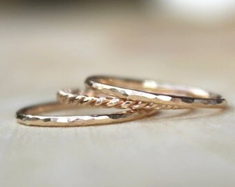 Stacking Rings | Bridesmaids Gift | Unique Bridesmaids Jewelry [Whisper Ring Trio in Gold]