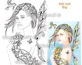 Posy Fairy Tangles Digi Stamp by Norma J Burnell Flower Fairy