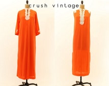 70s Nightgown Peignoir Set M L / 1970s Lace Lingerie / Tangerine Dream Robe and Nightgown
