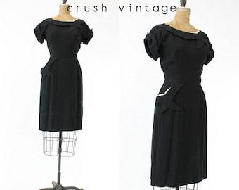 40s Dress Pintucking Small / 1940s Vintage Dress Rayon /  Tic Tac Toe Dress