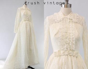 60s Wedding Dress Lace XS / 1960s Lace Dress / Tender Tendu Gown