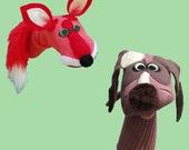 Fox and Hound Handmade Sock Puppet Gift Set