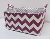 "Diaper Caddy - Fabric Storage Basket - 11""x11"" Organizer Bin - Storage box - Diaper Bag - Baby Gift -Nursery Decor -RB Purple Chevron Zigzag"