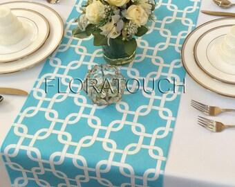 Light turquoise (Pool blue) and White Gotcha Table Runner Wedding Table Runner