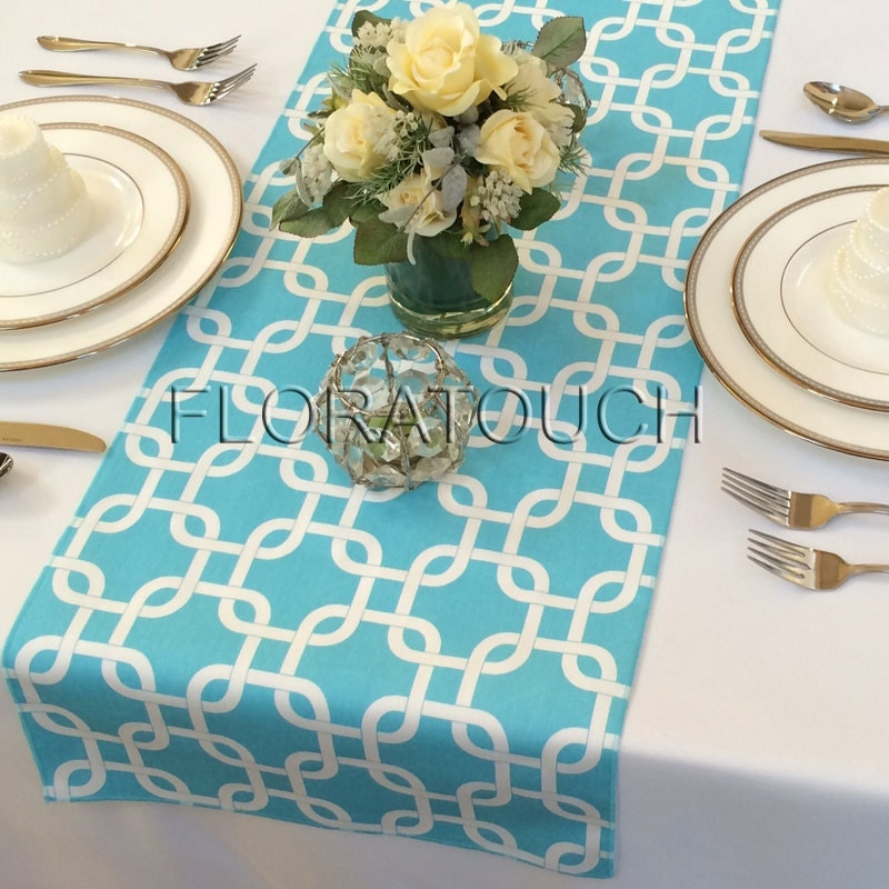 Light Turquoise Pool Blue And White Gotcha Table By Floratouch