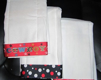 Baby Boy's Embroidered Personalized Burp Cloth Set of 3 with Ribbon-COWBOY