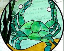 "Maryland Crab round stained glass window Panel, 16"" round"
