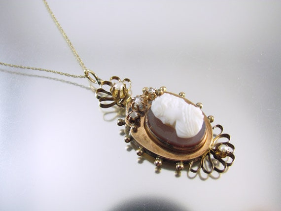Diamond pearl rose gold Victorian sardonyx hardstone cameo pendant necklace