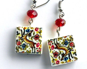 COIMBRA Portugal 17th Century  Pottery Replica Earrings with Whimsical DEER,  Waterproof and Reversible 367