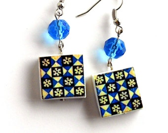 Portugal Antique Azulejo Tile Replica Earrings - Blue Geometric - Ovar - WATERPROOF and REVERSIBLE 728