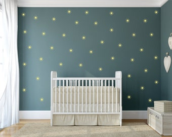 Twinkle Stars, Vinyl Wall Decal Set of 25, Star Wall Stickers, Star Wall Decals, Baby Nursery Wall Decals, 25 Twinkle Star Shaped Decals