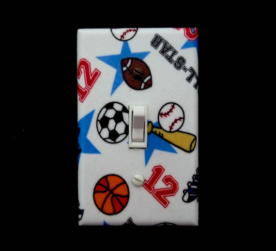 sports light switch cover basketball football soccer