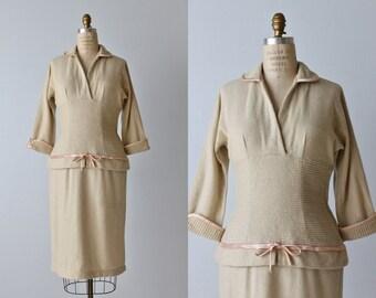 1950s Dress / Wiggle Dress / Wool / Day Dress / Gentle Fawn