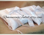 Romantic Satin Ring Bearer Pillow Set of 2...You Choose the Colors..shown in white/white