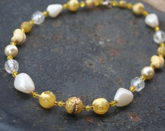 Vintage Upcycled Beaded Yellow Swarovski Crystal Pearl Necklace
