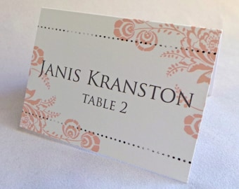 Placecard 50qty...Choose your fonts and colors...Shabby Floral