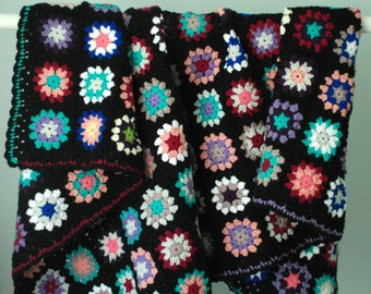 Black Blanket with Multi Color Circles for Guest Room,Family Room,Dorm,Apartmen,Summer House ,Crochet in USA,Acrylic