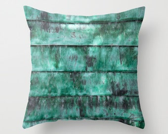 Turquoise pillow, abstract teal pillow, teal striped photo cushion art, outdoor patio pillow soft furnishing art, modern home decor pillow