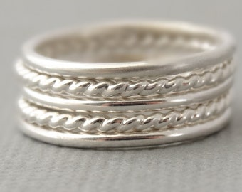 Sterling Silver Thumb Rings 2 twist rings and 3 Smooth Rings - choose your size