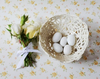 Porcelain Paperclay Filigree Bowl- MADE TO ORDER -  wedding favour in white - Porcelain paperclay