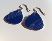 Blue and White Guitar Pick Earrings