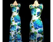 Vintage 60s Blue Island Tropical Maxi Dress Starring Hydrangeas in Bloom