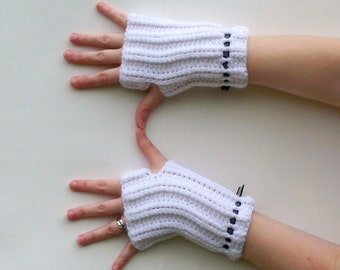 White Fingerless Gloves - SALE 50% OFF - Crochet Hand Warmers With Black Ribbon - Women's Wrist Warmers