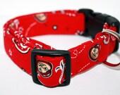Custom Canine Collarz Fabric Dog Collar Ohio State University College  Football  OSU Go Bucks buckeyes bandana  Pet accessory  handmade New