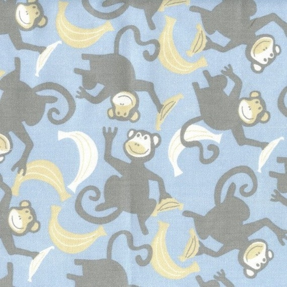 Monkey bananas fabric yardage 2 5 yds nursery by for Nursery monkey fabric